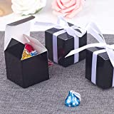 YESON Black Candy Boxes 2 x 2 x 2 inch Small Square Paper Party Favor Boxes, Party Supplies Decorations,Pack of 50