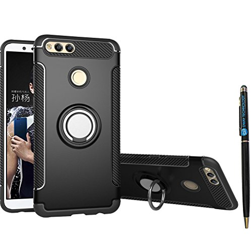 Mate SE Case DWaybox Hybrid Back Case Cover with 360 Degree Rotation Ring Holder for HUAWEI Honor 7X/Mate SE 5.93 Inch Compatible with Magnetic Car Mount Holder (Black) ()
