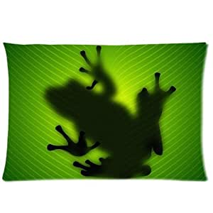 """Cute Frog Custom Rectangle Zippered Pillowcase Pillow Inner Included 16""""x24"""" ( One Side )"""