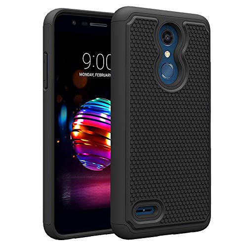 (LG K30 / Premier Pro LTE 5.3/Phoenix Plus Phone Case with Tempered Glass Screen Protector Rugged Heavy Duty Protective Full Body Rubber Cell Accessories Slim Hard Cover for LGK30 K)