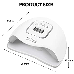 UV Gel Nail Lamp,80W Nail Dryer LED UV Light for Gel Polish-4 Timers Professional Nail Art Accessories,Curing Gel Toe Nails,White,1PK (Color: White, Tamaño: LED Nail Lamp,White,1PK)
