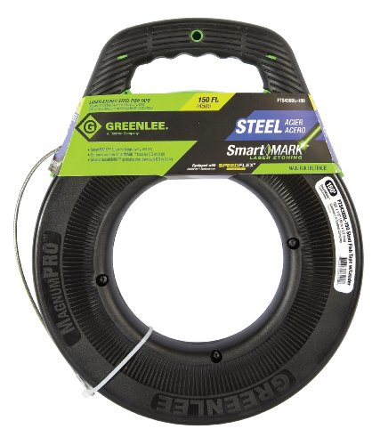 Greenlee FTS438DL-150 SmartMARK Laser Etched Steel Fish Tape with SpeedFlex Leader, 150-Feet