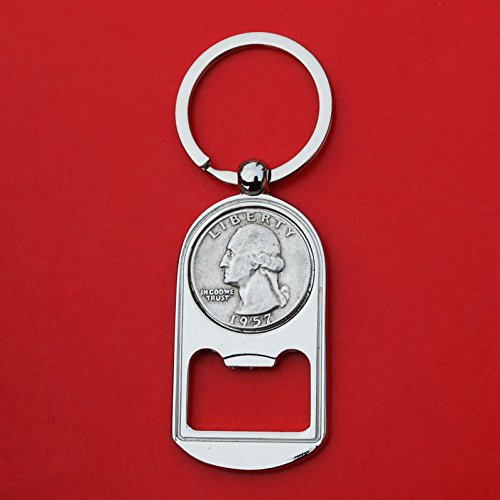 US 1957 Washington Quarter 90% Silver Coin Key Chain Ring Bottle Opener NEW