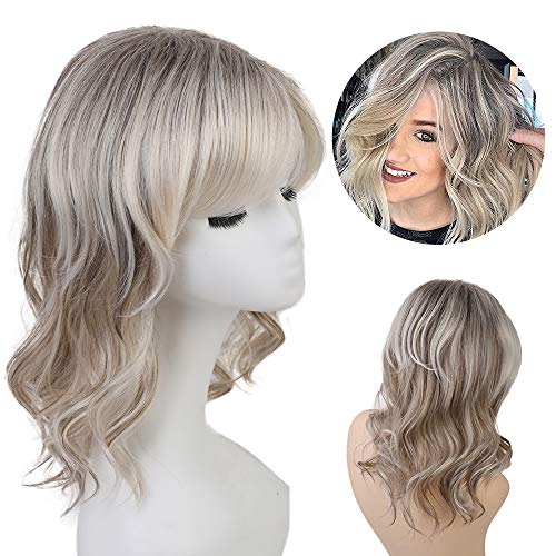 Blonde Unicorn Ombre Dark Root Wigs for Women Bob Human Hair Wig with Bangs Curly Hair Wig
