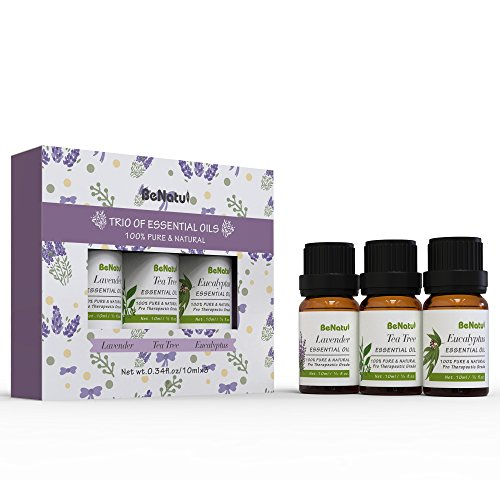 Essential Oils Gift Set(Lavender/Tea Tree/Eucalyptus) Trio(3) 100% Pure -Purify Air for Home/Office/Car, Massage for Face/Body/Hair