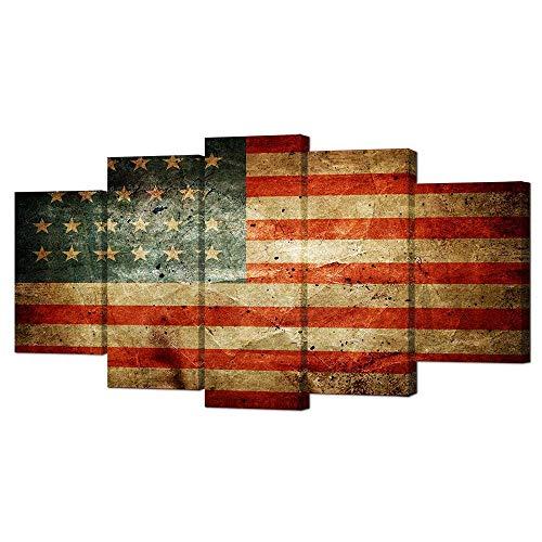 VVOVV Wall Decor Vintage American Flag Canvas Prints Wall Ar