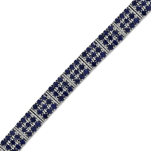 Fine Blue Sapphire and Diamond Tennis Bracelet in Sterling Silver (Sapphire Blue Bracelet Diamond)