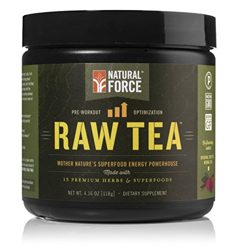 Natural Force® Raw Tea - NATURAL PRE WORKOUT SUPPLEMENT - Organic Ingredients, Vegan, Certified Paleo, and Non-GMO Clean Pre Workout *No Synthesized Vitamins* Original, 4.16 oz.