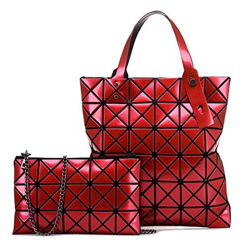 Womens Handle Shoulder Top Diamond PU Rose Bag Satchel Bag Geometric Leather Lattice Tote Handbag Red Set 2Pcs dPAwpd
