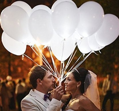 LED White Light Round Balloons with 20 PCS Ribbon for Wedding Birthday Party Anniversary Decoration