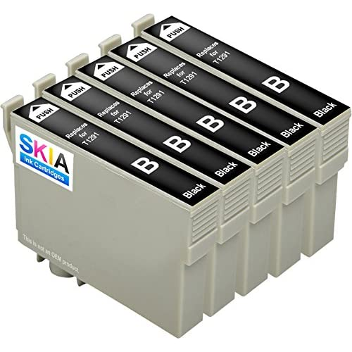 Pack de 5 Noir Skia Cartouches d'encre Epson T 1295 1291 1292 1293 1294 Stylus Office BX 305 F 625 FWD 625 SX 230 235 W 420 425 435 445 445 WE 525 WD WorkForce WF 3520 DWF 7015