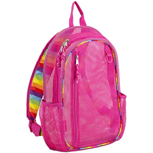 Eastsport Active Mesh Backpack with Padded Adjustable Straps, English Rose Pink/Rainbow Straps and...