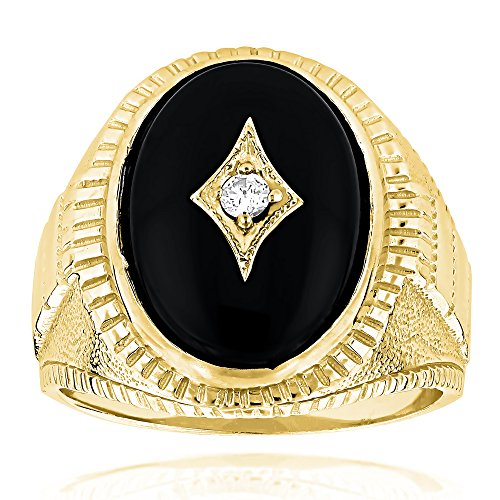 (Luxurman Black Oval Natural Onyx And Real 0.1 Ctw Diamond 14K Mens Ring For Him (Yellow Gold Size 11))