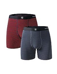 SUI SONG Men's Boxer Briefs Natural Cotton Men's Underwear 2-Pack