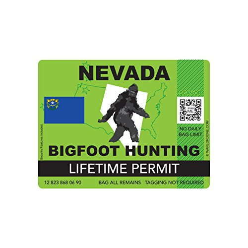 Nevada Bigfoot Hunting Permit Sticker Die Cut Decal Sasquatch Lifetime FA Vinyl