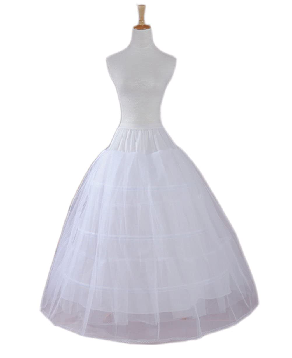 Ikerenwedding A-line 3 Hoop Floor-Length Bridal Dress Wedding Gown Slip Petticoat PT007