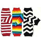 Bowbear Baby 3-Pair Leg Warmers Rainbow Stripes and Chevron