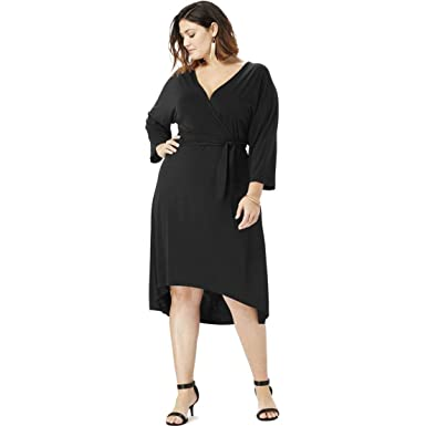 0aeffe426f Roamans Women s Plus Size Dolman-Sleeve Wrap Dress with High-Low Hem at  Amazon Women s Clothing store