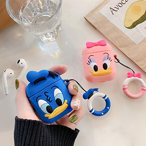UR Sunshine AirPods Case, Super Cute Creative Food Hamburger Potato Chips Animal Duck Shape Matte Surface Soft Silicone Case Cover Protective Skin for AirPods+Ring Lanyard-Pink Duck (Pink Monster Lanyard)
