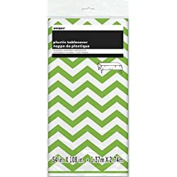 "Chevron Plastic Tablecloth 108"" x 54"" Lime Green"