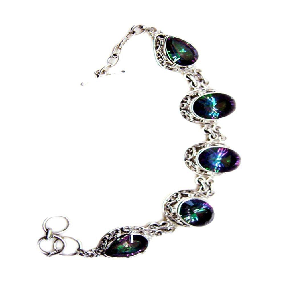 Elegant Mystic Quartz CZ Sterling Silver Bracelet Link Style Mixed Cut Handmade Jewelry For Men & Women