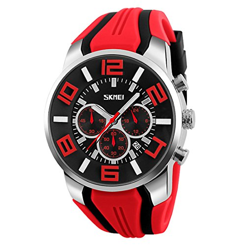 Gets Unique Sports Watch Silicone Band Sport Wristwatches Men Big Face Dial Outdoor Quartz Casual Watches for Valentine's Gift (Red) -