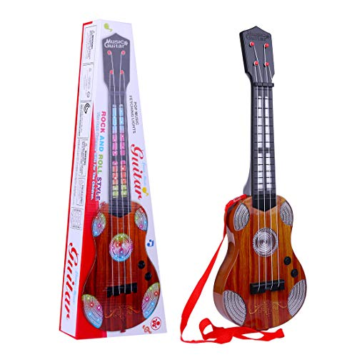 RuiyiF Kids Guitar for Girls Boys with Strap, 4 Nylon String Toddler Toy Electric Guitar for Kids Ages 3-5 with Music and Light, Music Toy for Toddler (Brown)
