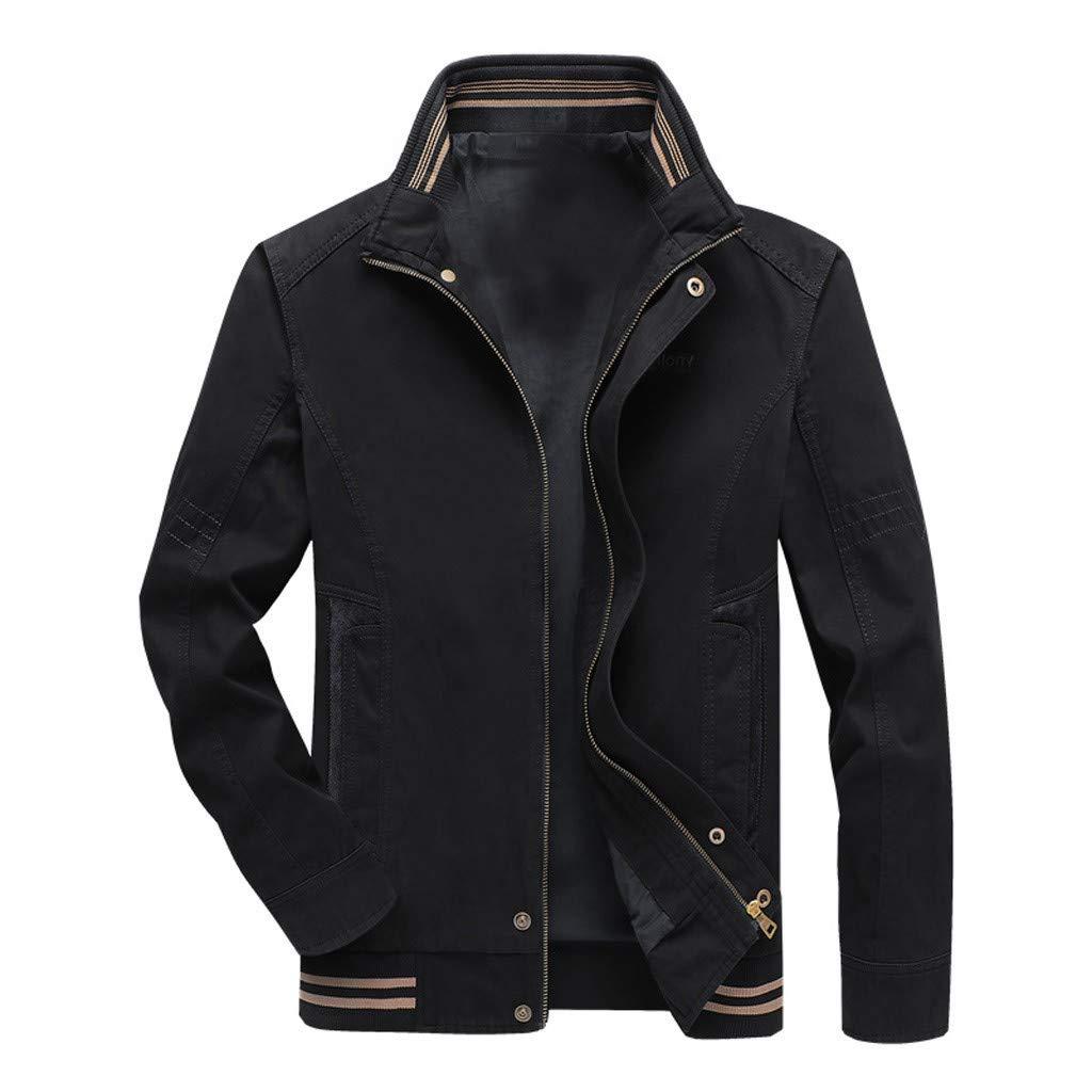 kemilove Mens Stand Collar Zipper Outwear,Man Pure Color Patchwork Jacket Sports Casual Slim Fit Overcoat Dark Blue