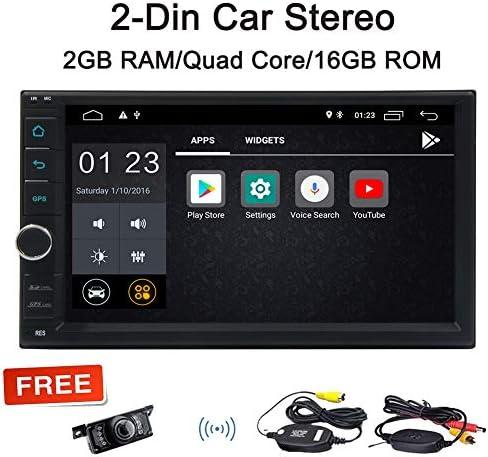 """EunCar 7"""" 容量性タッチスクリーンのAndroid 8.1クアッドコア2ギガバイトのRAM + 16ギガバイトROMカーステレオダブル2ディンヘッドユニットGPSナビゲーション無DVDプレーヤーオートラジオのWiFi、3G / 4GのブルートゥースSWC AM/FM/USBミラーリンクワイヤレスバックアップカメラ"""