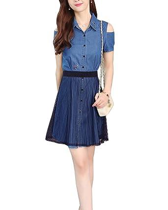 Mujer Cintura Alta Faldas Cortas Vestido de Blusa Manga Corta ...