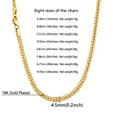 U7 Men Women 18K Gold Plated Necklace with Gift Box 18KGP Stamp Hip Hop Jewelry 4 Colors 6MM-9MM Wide Snake Curb Link Chain,Length 18 Inch-32 Inch,Custom Text Engravable