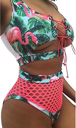 Print Bikini Set - tengweng Women African Print Two Piece Lace Up Bikini High Waist Mesh Cutout Thong Swimsuit XL AQP2