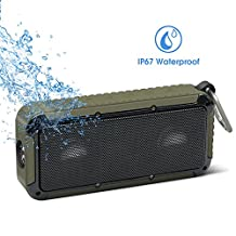 Bluetooth Bicycle Speaker New Bee 18 Core 10W Bicycle Mount Metal Hook Loop Wireless Waterproof Speaker with 2 Titanium Coating Horn, Bass Diaphragm for Outdoor Sports Travel Bicycle Cycling (Army Green)
