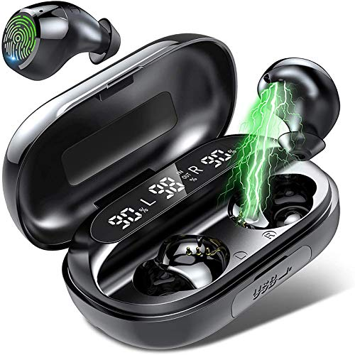 Wireless Earbuds, Bluetooth 5.0 True Wireless Headphones with Smart LED Display Charging Case, Touch Control Bluetooth Earbuds in-Ear Built in Mic, 130H Playtime Noise Cancelling Headset for Sport