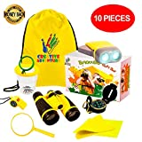 Outdoor Explorer Kit - Kids Binocular Set, Bug collector, Flashlight, Compass, Magnifying Glass, Whistle and Backpack. Great Birthday Gift and Educational Toy, Kids Outside and Pretend Play