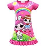 WNQY Girls Surprise Princess Comfy Loose Fit Pajamas Doll Digital Print Party Gown Dress for Doll Surprised (100/2-3Y, Rose 1)