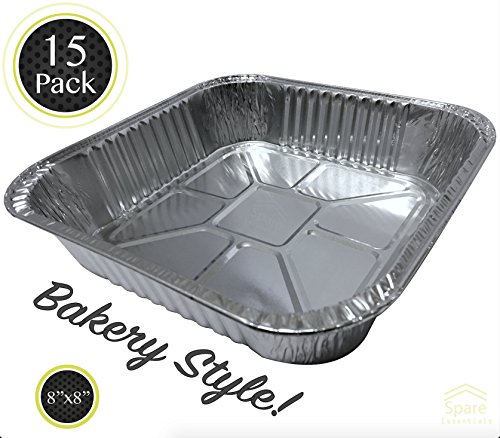 15 PACK - Deli Brownie Pan - Square Baking Pans. Thick Aluminum Foil Cooking Tins. Cake Pans. Durable Quality for Baking, Roasting, & Cooking. Ideal for Tasty Brownies and Cakes. (Cooking Tins)