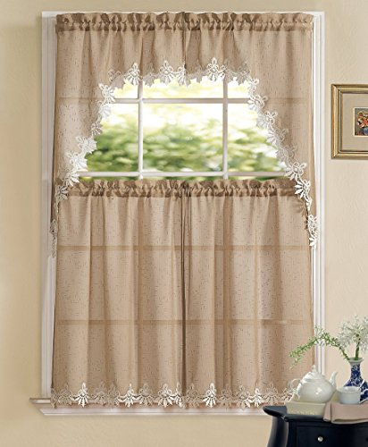 Orchard Luxurious Matte Sheer U0026 Macrame Kitchen Curtain Tier U0026 Swag Set By  GoodGram®   Assorted Colors (Taupe)