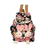 Roshiaaz Women's Floral Print Bunny Teddy Backpack Bags For College Girls