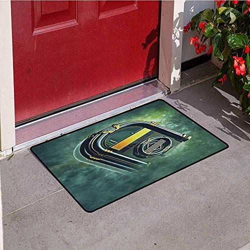Gloria Johnson Jukebox Commercial Grade Entrance mat Abstract Grunge Antique Radio Music Box on Blurry Backdrop Print for entrances garages patios W23.6 x L35.4 Inch Forest Green Yellow and White