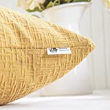 Kevin Textile Decor Soft Square Velvet Throw Pillow Cover Fashion Striped Decorative Pillow Case Handmade Cushion Cover for Couch, 18x18 inches,2 Pieces,Primrose Yellow