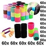kit 60 elásticos tiras prendedores de cabelo cores sortidas para Rabicó Xuxinha