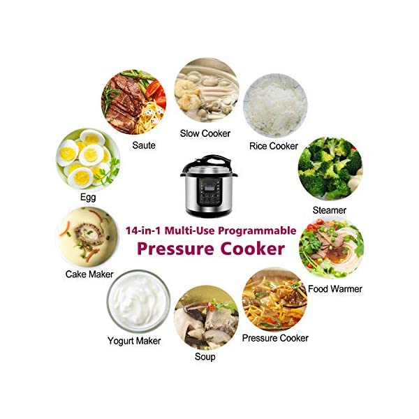 ZENY 6 Qt 7-in-1 Multi- Use Programmable Pressure Cooker Stainless Steel Electric Pressure Cooker 1000W w/LED Display… 3