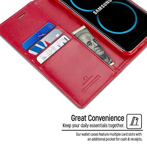 Galaxy S8 Fundas, [Drop Protection] GOOSPERY® Blue Moon Diary Caja del teléfono de la imitación de cuero tirón de la carpeta Fundas fundas para Samsung Galaxy S8 - Navy Gray Red