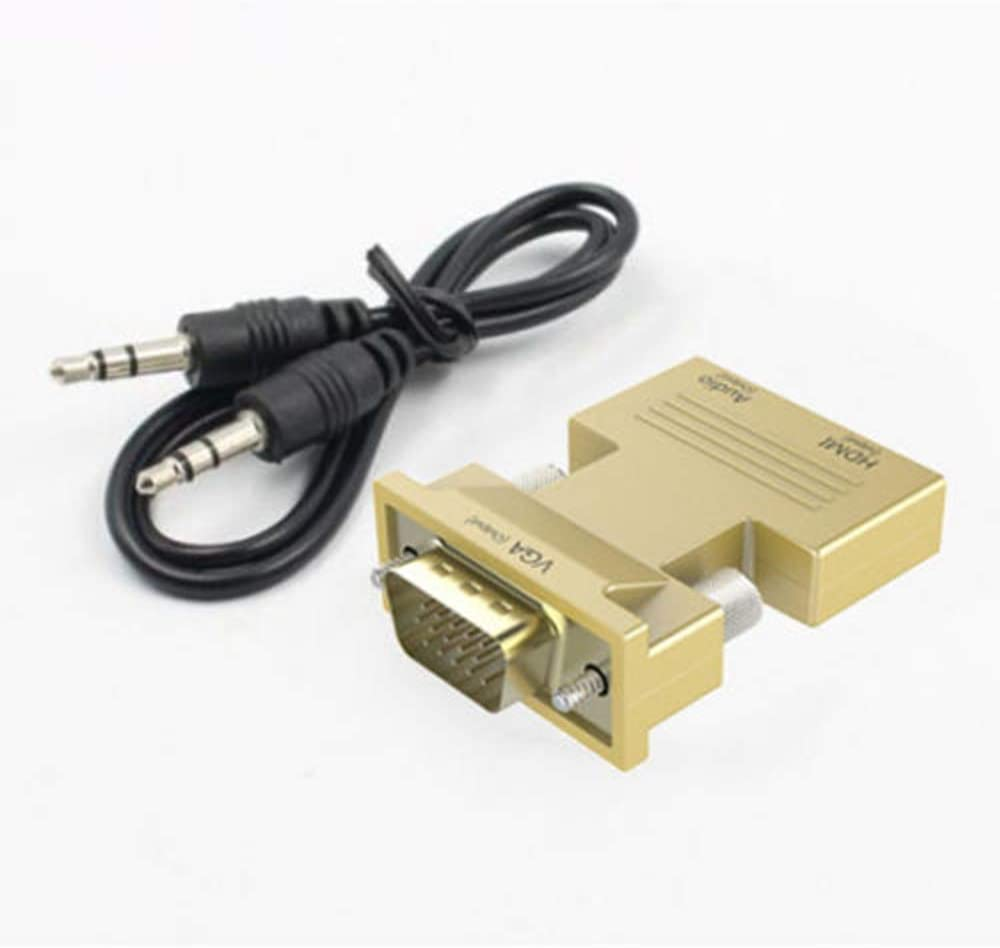 Black, OneSize HDTV HDMI Female to VGA Male Adapter Cable 1080P Stereo Audio Output Connector Cable