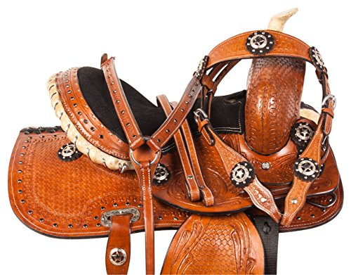 Show Saddle Youth (PREMIUM BLACK CRYSTAL SHOW WESTERN PLEASURE TRAIL BARREL RACING RODEO YOUTH KIDS PONY SADDLE TACK BRIDLE HEADSTALL BREAST COLLAR REINS (10))