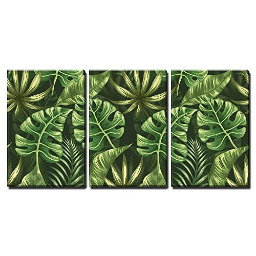 Stylized Leaves - wall26 - 3 Piece Canvas Wall Art - Vector - Seamless Pattern with Palm Leaves Stylized Like Watercolor - Modern Home Decor Stretched and Framed Ready to Hang - 16