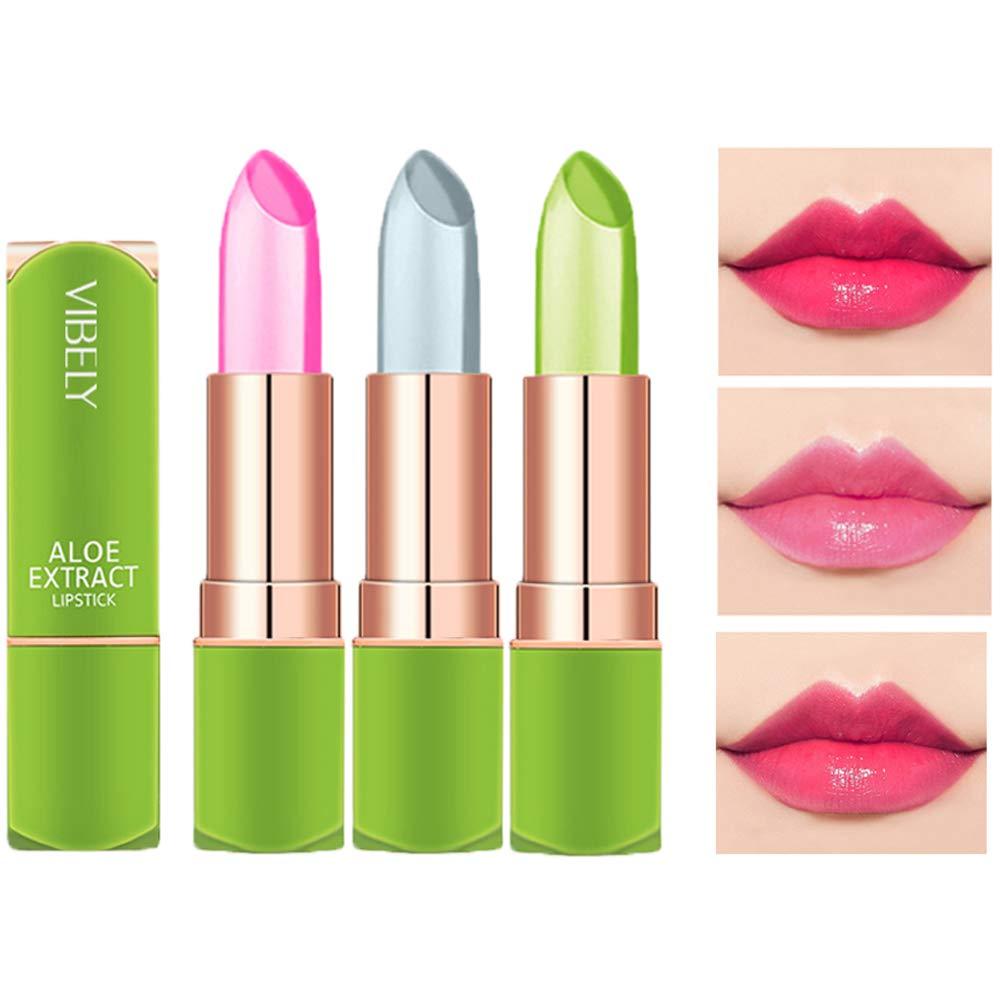Petansy 3 Packs Aloe Vera Lipstick , Lips Moisturizer Long Lasting Nutritious Lip Balm Magic Temperature Color Change Lip Gloss-Set(A)