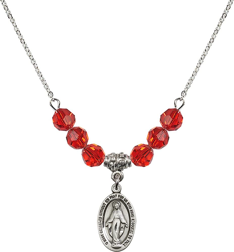 18-Inch Rhodium Plated Necklace with 6mm Ruby Birthstone Beads and Sterling Silver Miraculous Charm.