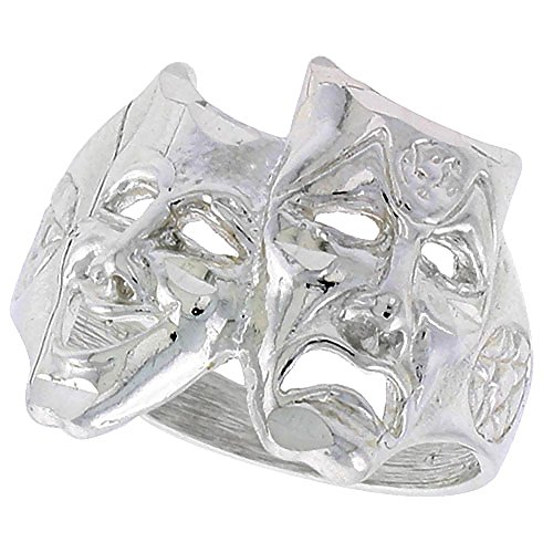 Sterling Silver Drama Masks Ring Polished finish 11/16 inch wide, size 6.5
